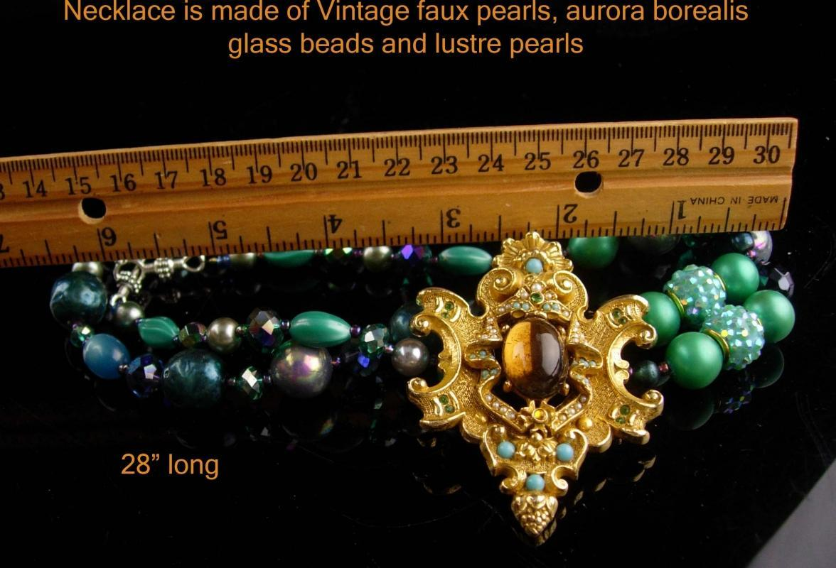 Vintage renaissance necklace / Vintage teal pearls - Art Rhinestone brooch - statement jewelry - Anniversary gift - mother of bride