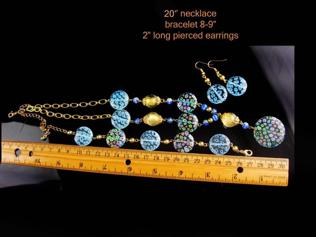 Murano Flower necklace - Italian Millefiori bracelet - blue earrings - Birthday gift flower set - something blue bride
