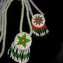 Vintage Indian Necklace - Mother and daughter set - hand beaded - native american craft - Tribal star flower necklace