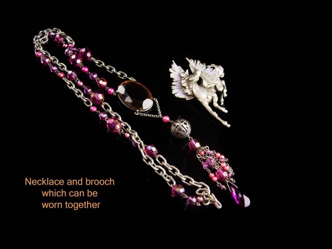 Fabulous Pegasus Necklace - signed purple necklace  - long tassel - jj flying horse brooch - Vintage signed pin - Mystical Mythology Fantasy