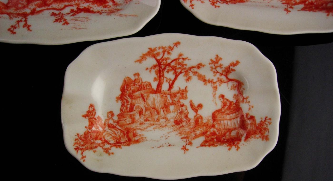 Antique miniature Limoges dish set -  GDA  - Gerard Dufraisseix Abbot - France Ring Tray - trinket tray set - courting Watteau Theme