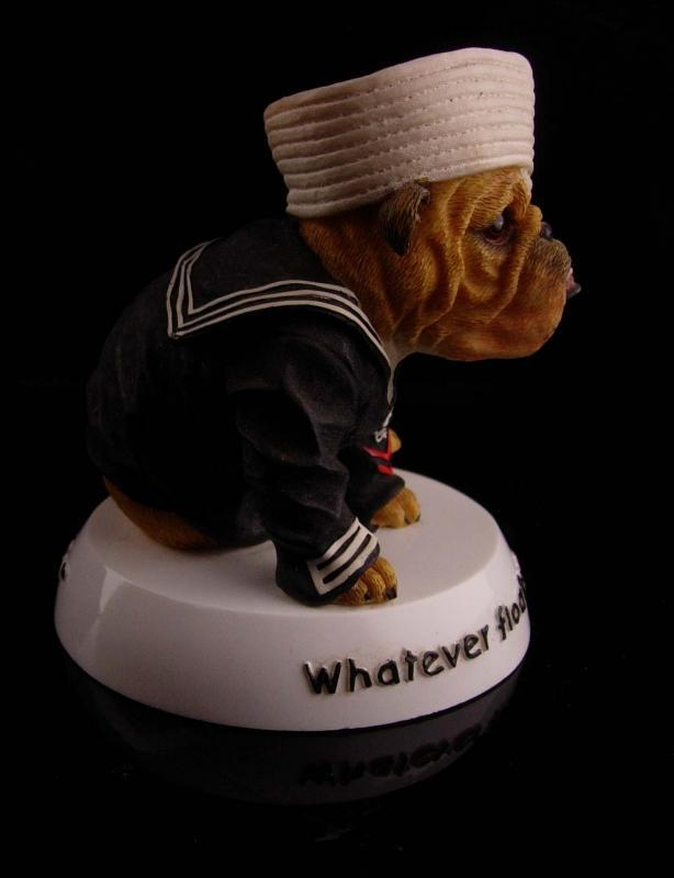Vintage English Bulldog statue - sailor dog - Military figurine - Patriotic gift - sweetheart nautical gift - Navy Dog - Zelda veteran gift