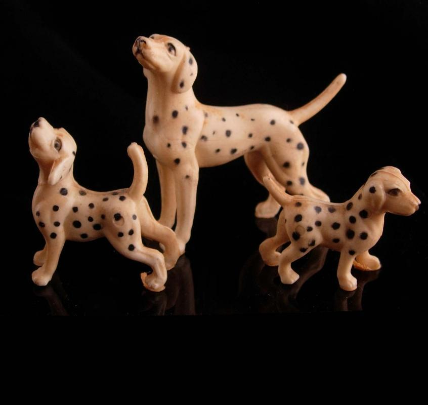 Vintage miniature Dalmations - celluloid figurines - DOG sitter gift - veterinarian gift - celluloid toys