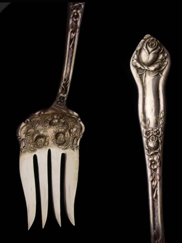 1913 Stratford Fancy large Fork - Antique victorian Wedding Gift - Victorian cold meat serving Fork set - bride groom gift - rosedale
