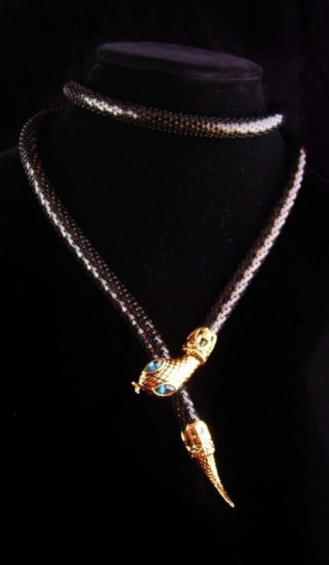 Exotic deco Snake necklace - Cleopatra black wrap necklace - vintage serpent belt jewelry - Goddess statement choker -signed - black mesh