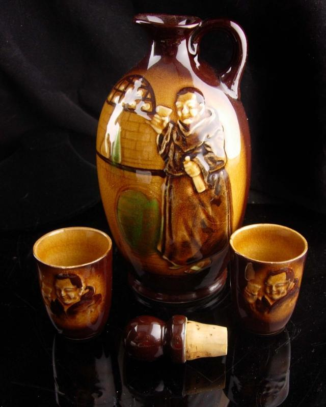1940s Vintage Monk pitcher set - religious sake set - Japan Pottery decanter - Moriyama 3pc set - Japanese gift