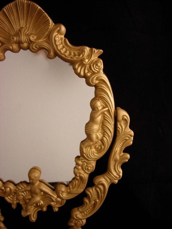 Victorian Cherub Mirror / vintage metal vanity mirror / Photo frame / Antique angels / raised relief  / gold vanity accessory