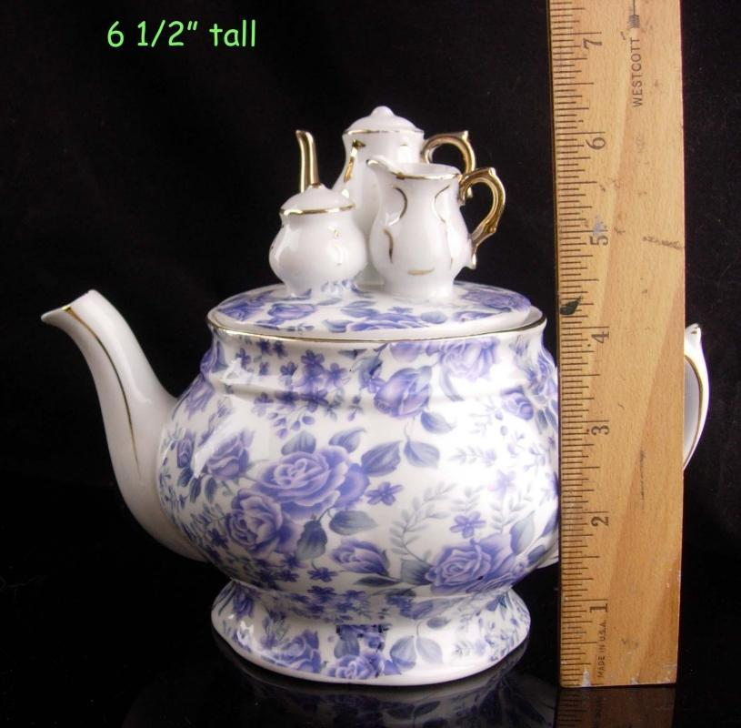 Unusual teapot / Miniature teaset top - blue white - porcelain Victorias TEA Room - GIft for Mom - Teapot Collector gift