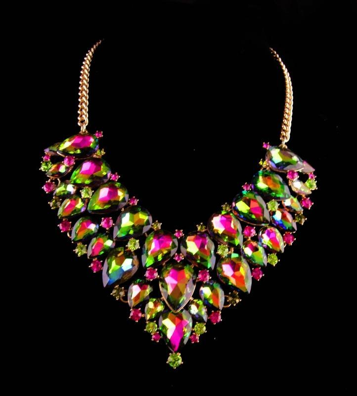 dramatic statement Necklace - aurora borealis Rhinestone layered bib - signed costume jewelry -  green pink yellow