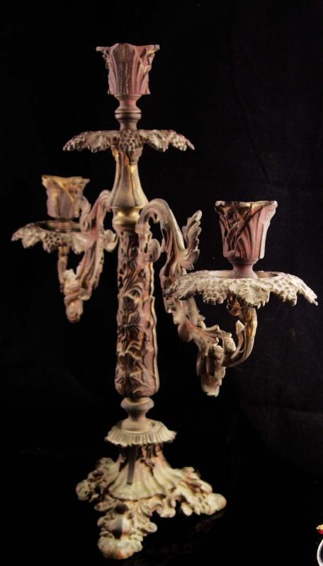 Spooky antique  candelabra - Victorian gothic revival / victorian brass Candlesticks / haunted decor - home decor - movie prop