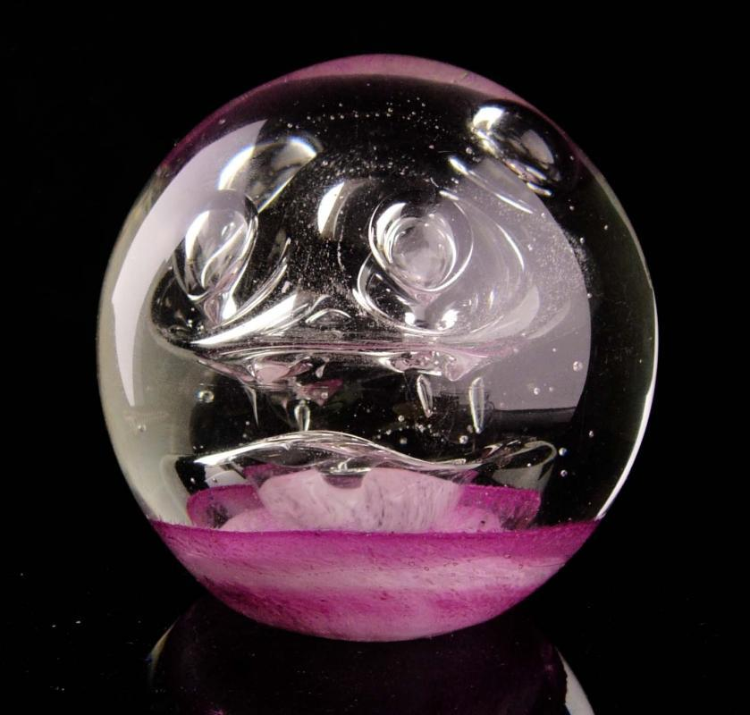 Vintage abstract paperweight - jellyfish - french pink paperweight - gift for her - handblown glass