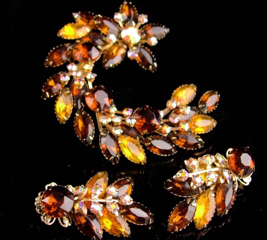 1950s Large Rhinestone brooch set - statement jewelry - Long cluster clip on earrings - amber & AB flower spray - navette rhinestones