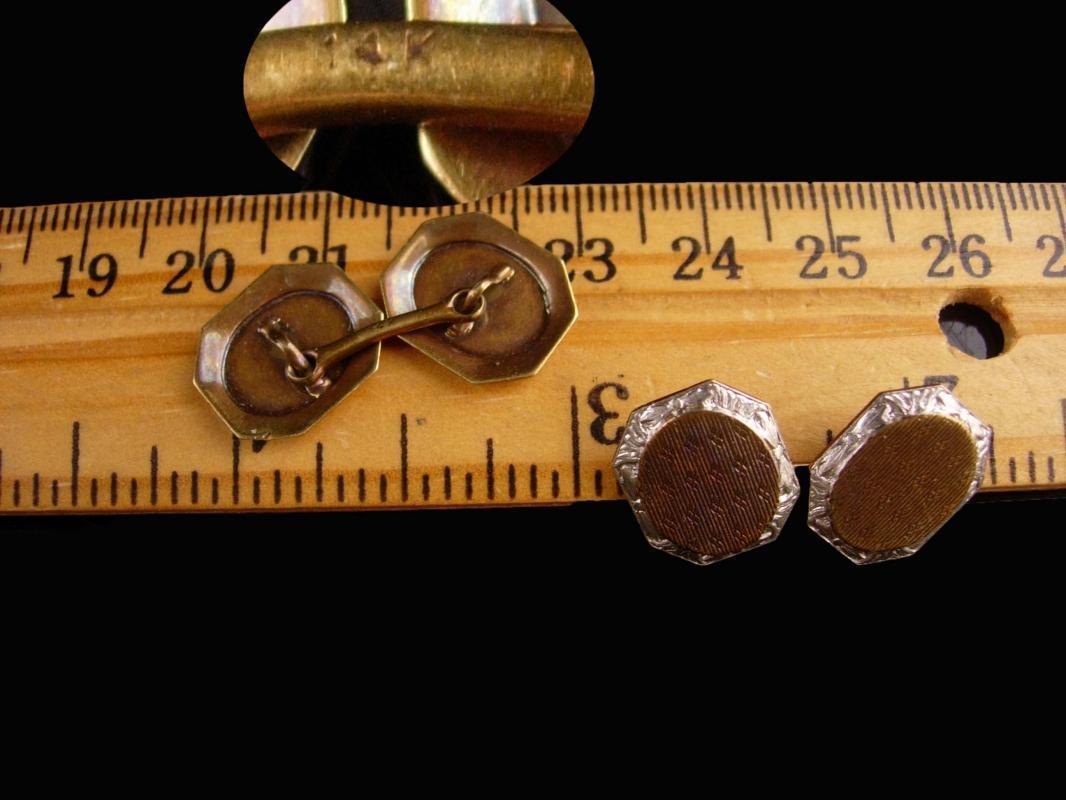 Antique Victorian Cufflinks - 14kt white gold - button type - Fine Jewelry - wedding estate jewelry -vintage anniversary gift