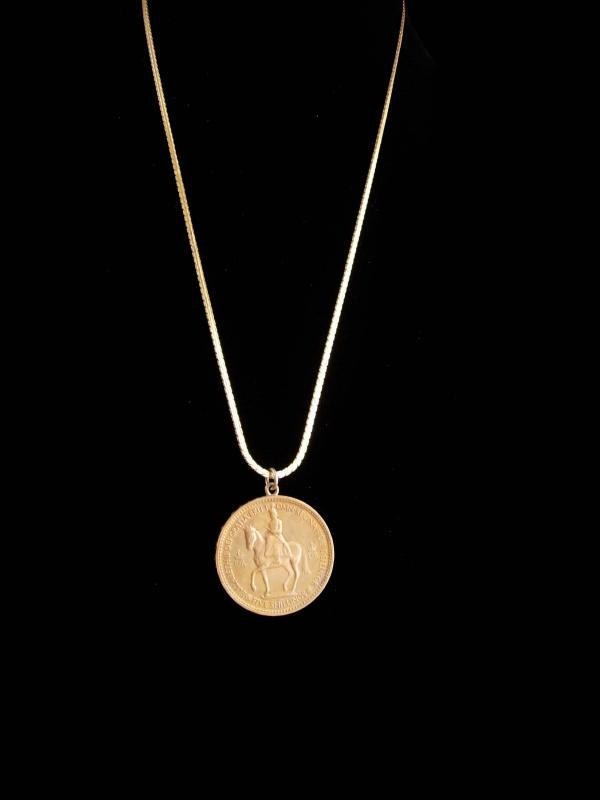 1953 coin necklace / engraved scottish 5 shillings coin / Royal crest / Collectors Gift / maltese cross  / mens birthday - coronation gift