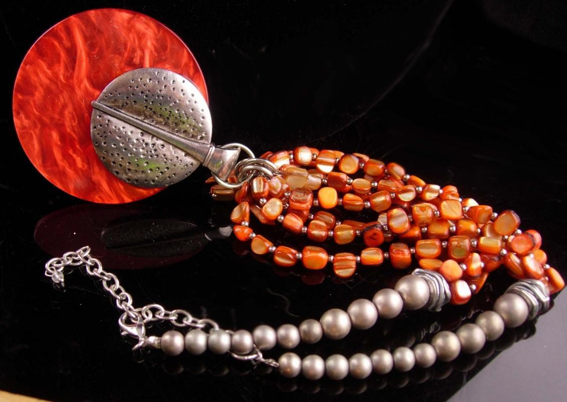 HUGE Scottish Dagger necklace - tribal modernist necklace - celtic designer jewelry - primitive design - orange lucite and shell