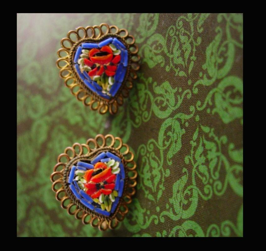 Antique micromosaic heart earrings - Made in Italy - screw on - multi colored glass - sweetheart gift -  birthday - Italian mosaic