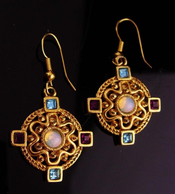 Celtic Cross earrings - faux moonstone - religious jewelry - Celtic wedding - irish earrings - gift for her - friendship gift