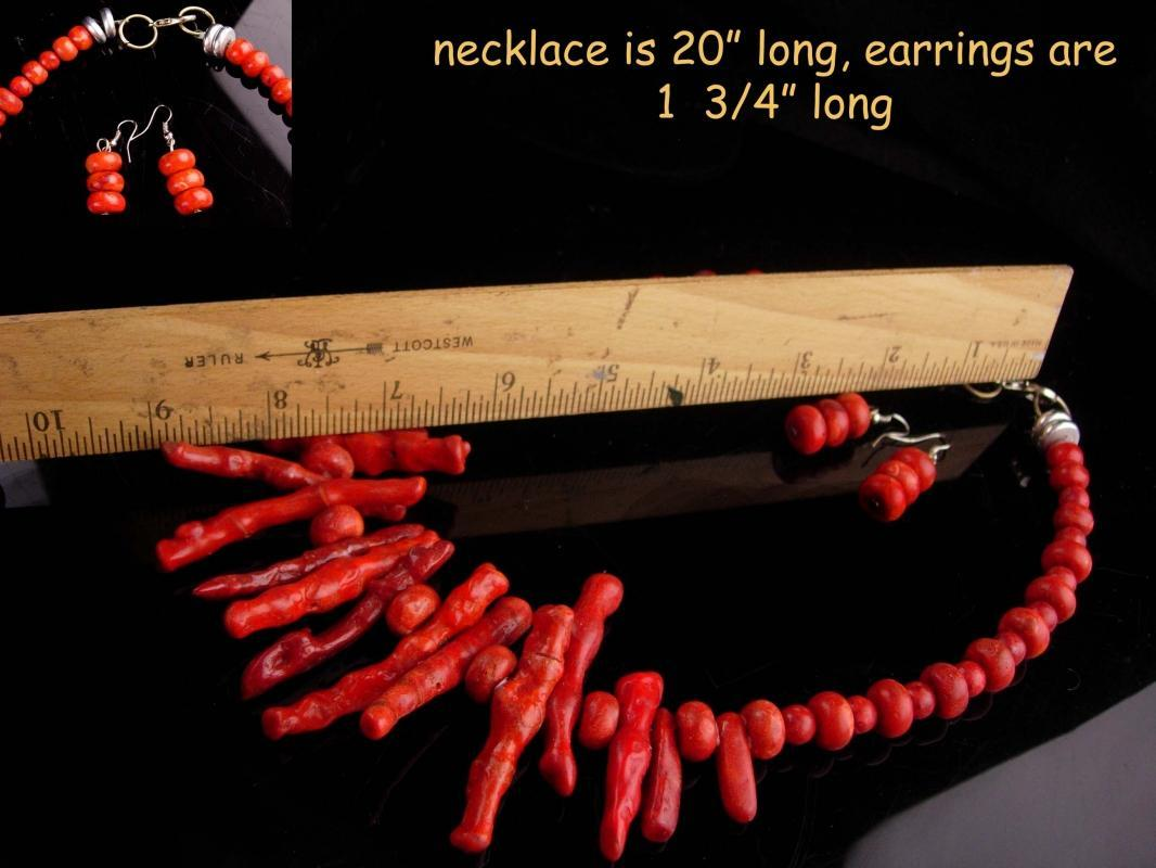 Hippie jewelry / large faux coral - vintage Tribal necklace - branch red choker - matching earrings - primitive jewelry - statement choker