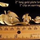 Vintage blue enamel Brooch & earrings - vintage leaf set - signed Designer clip on leaf set - Couture jewelry - demi parure