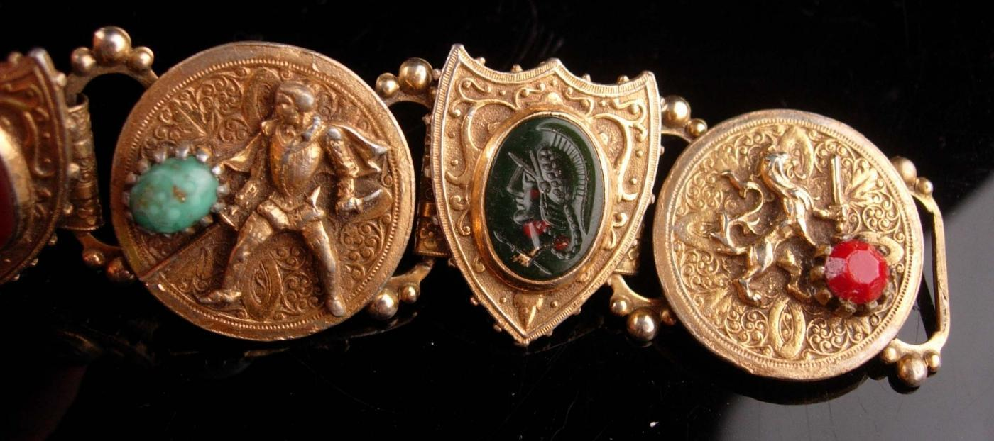 Antique Bookchain bracelet / Victorian lion / intaglio knight cameo /  renaissance revival / Edwardian jewelry / Vintage costume jewelry