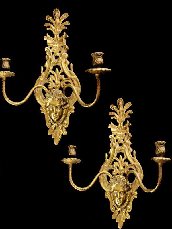 Antique PAIR candle holders / mythical gothic revival set / victorian brass horned medusa head Candlesticks / wall sconce / pair candelabras