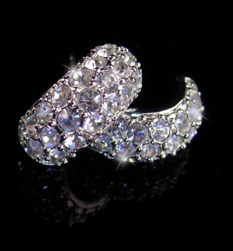 KJL Vintage  earrings - Pave brilliant rhinestones -Designer hoop pierced -  Couture jewelry - kenneth Jay Lane - wedding earrings