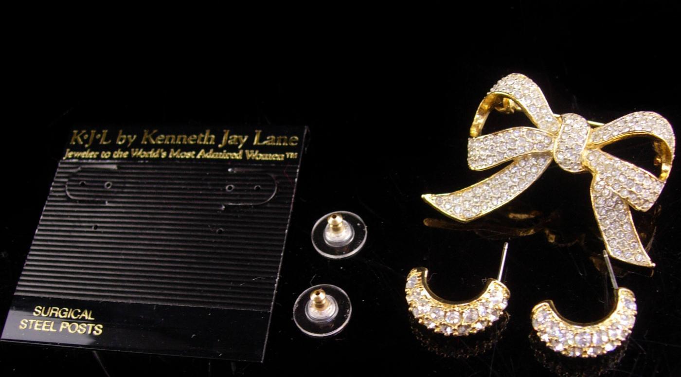 KJL Vintage  earrings - Pave brilliant rhinestone Bow Brooch - Designer hoop pierced - Couture jewelry - kenneth Jay Lane - wedding earrings