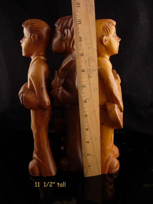 Vintage Musical band - Carved Monkey Pod statues - Hawaii souvenir - Wood Guitar - accordion - 3 piece band - Wood singers - choir boys