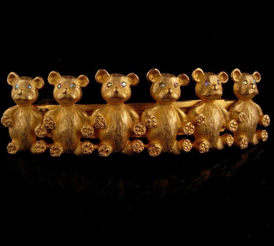 Vintage Kirks Folly Hair Clip -  Grateful dead - rhinestone Bear Hair Clip -  Designer Signed Hair Accessory - dancing bears