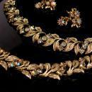 Vintage 50's Parure - auroroa borealis Choker necklace - rhinestone bracelet - Retro dangle clip on earrings - gift for her