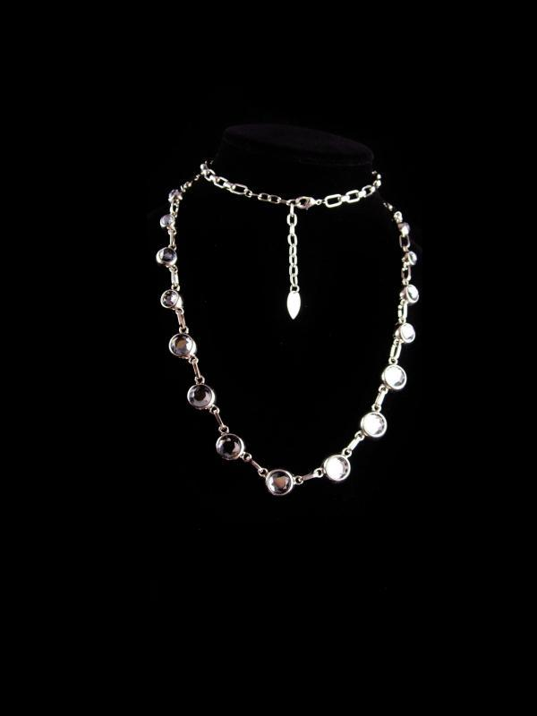 FABULOUS BIG rhinestone necklace - Signed jewelry - silver 38