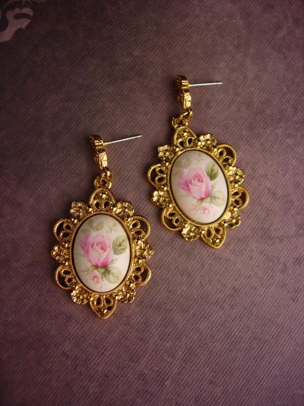 Vintage 1928 Earrings - Victorian style pink rose cameo - pierced Flower Dangle set - wedding earrings - gift for mom - anniversary gift