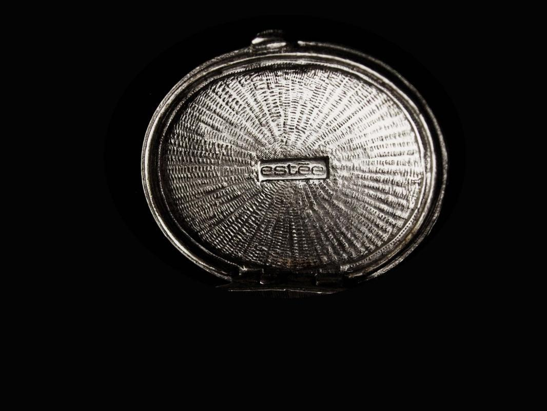 Vintage Perfume Necklace /  Estee lauder /  locket  Pendant / Silver Necklace  - Signed designer - couture jewelry