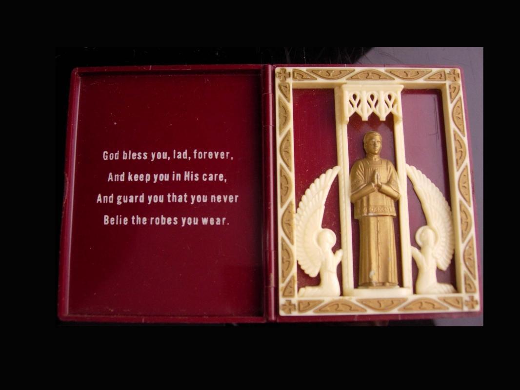Vintage St. John Berchman Icon -  Ornate Christian Catholic gift - Patron of Altar-Boys - vintage catholic icon