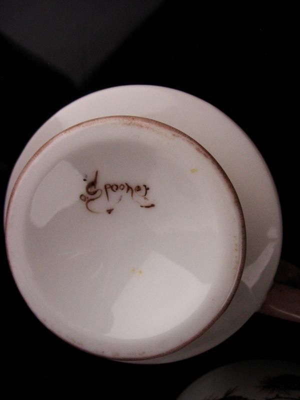 Vintage 8 cups - Squirrel pedestal set - irish coffee - signed pine cone set - gold accent brown white mugs - animal lover gift kitchen set