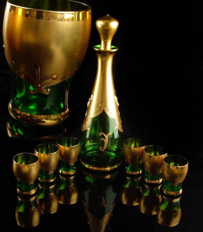 Vintage Bohemian decanter set - green Italian shot glass - vintage Italy hand blown 24kt gold fleur de lis - liquor bottle - wedding gift