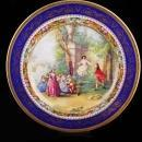 Antique victorian limoges plate - cobalt gold - george washington - vintage charger - signed plate - French plate