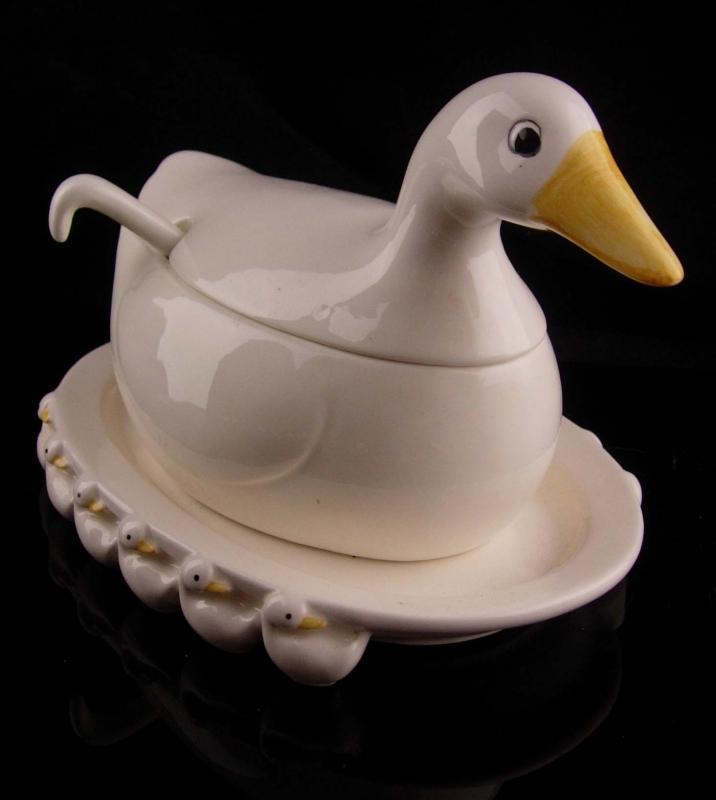 rare duck gravy boat - fitz & Floyd - 1984 vintage white duckling set - serving piece - gravy spoon - thanksgiving table