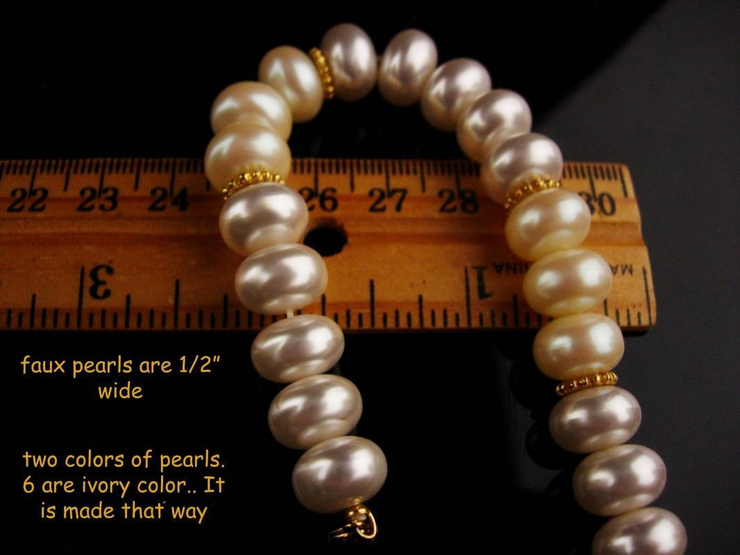 Vintage Monet pearl bracelet - couture jewelry - wedding bracelet - gift for mom - signed estate jewelry