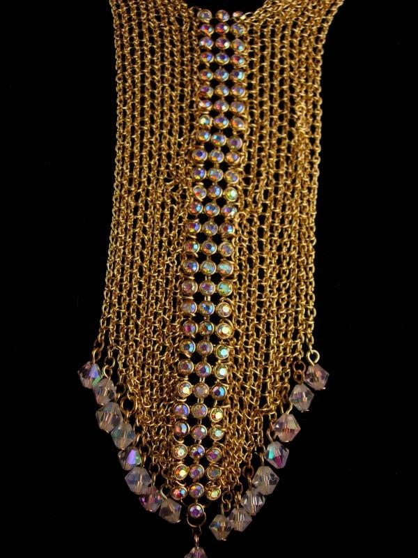 Vintage flapper necklace - statement necklace - Gold mesh chain Choker  - aurora borealis rhinestones - couture jewelry - tie necklace