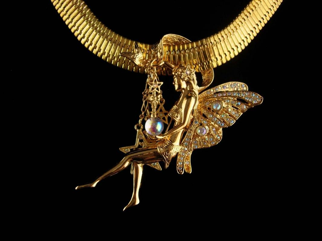 Vintage Fairy Necklace - Kirks Folley - moon stars brooch - Goddess necklace - art nouveau nymph - statement necklace