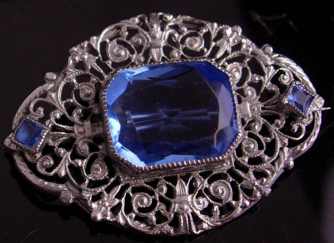 Large Antique Filigree Brooch - art deco blue faux sapphire jewelry - silver sash vintage pin - 18th 65th anniversary / December birthstone