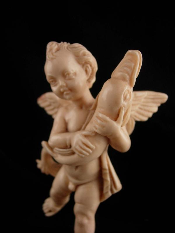 Vintage victorian Cherub statue - signed Italian fish angel sculpture - baby gift - Vintage angel figurine