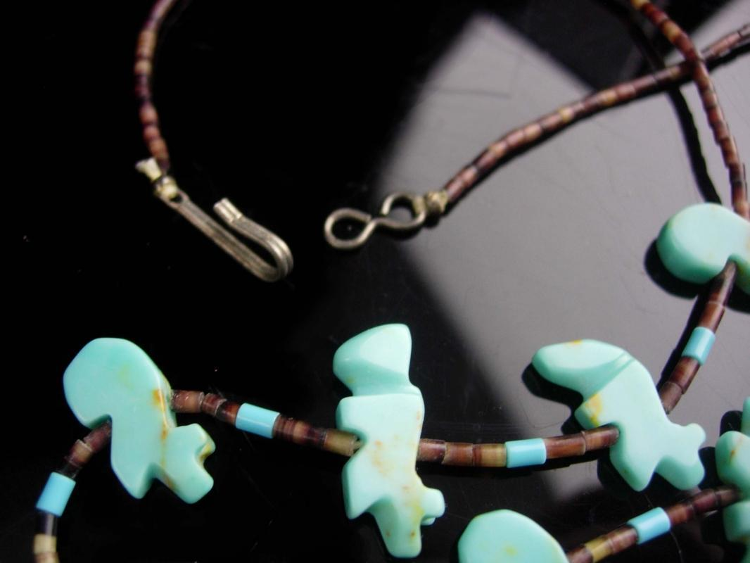 Vintage Talisman Fetish Necklace / Carved turquoise dove/  beach jewelry / hippie necklace / folk art Charm necklace