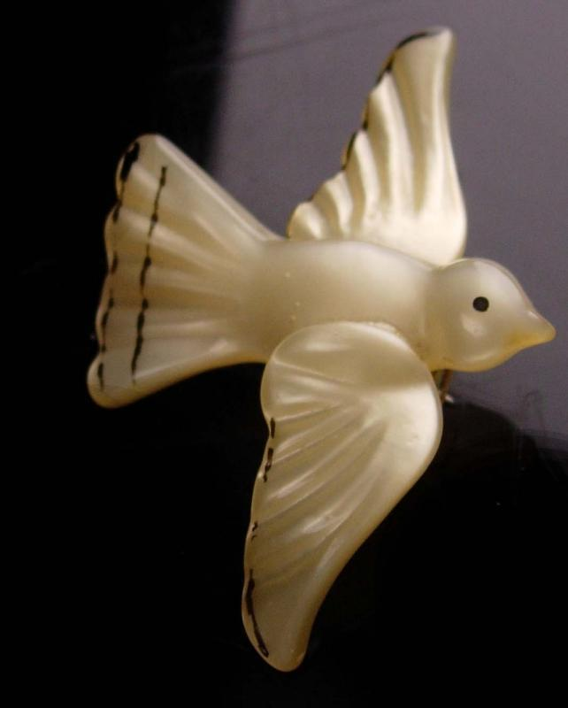 Unusual dove brooch -  moonglow lucite  - sacred dove - religious gift - gardener gift -  vintage novelty gift