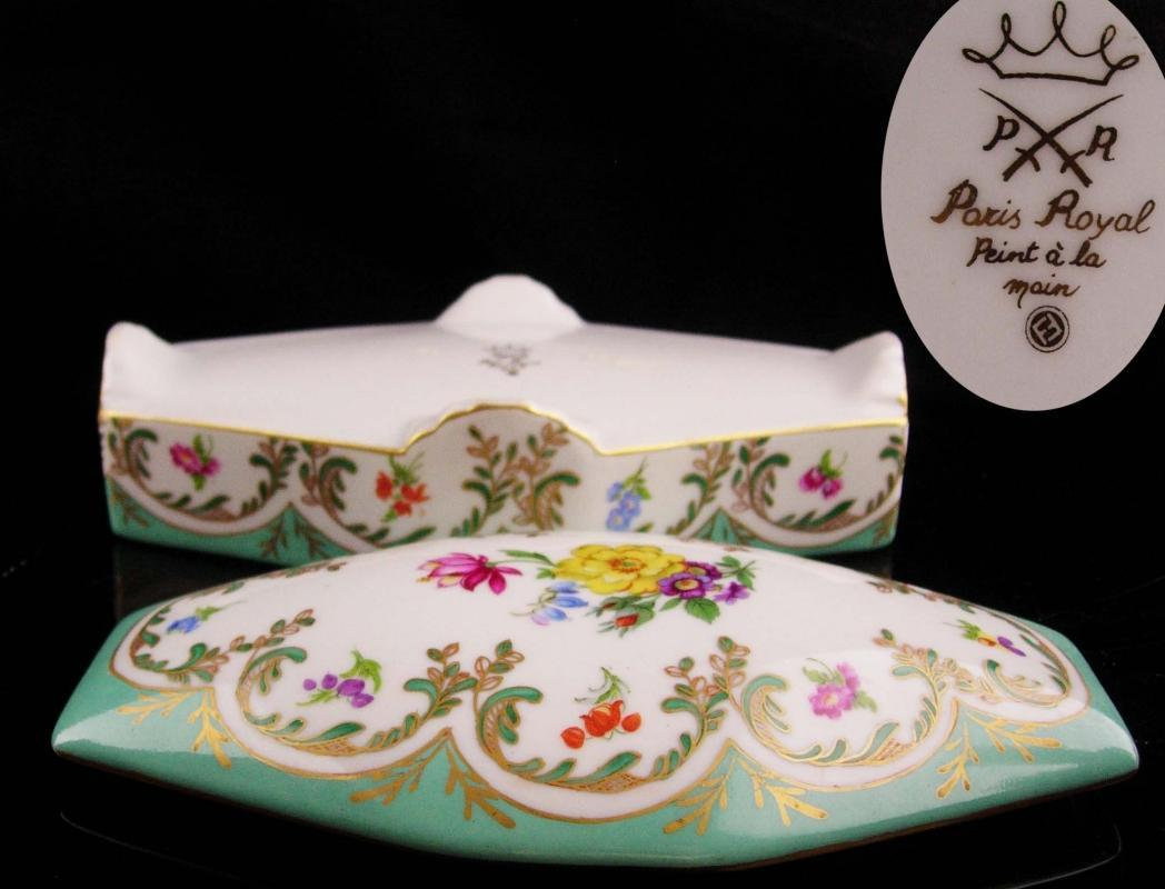 Large French dresser box - porcelain handpainted jewelry casket - footed paris royal trinket box - lidded floral - marie antoinette blue