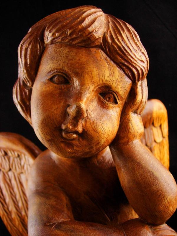 Vintage  Folk art Cherub statue - LARGE Solid wood carved cherub - Religious cherub thinking - spiritual ooak gift - hand carved wings
