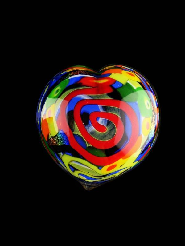 Vintage signed heart Glass Paperweight - hippie era art glass - foil glass - sweetheart whimsical gift - pop art - ooak -anniversary gift