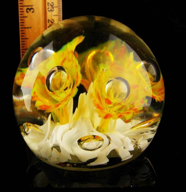 Vintage yellow iris Glass Paperweight - flower art glass - sweetheart whimsical gift - ooak - anniversary gift - gardener gift