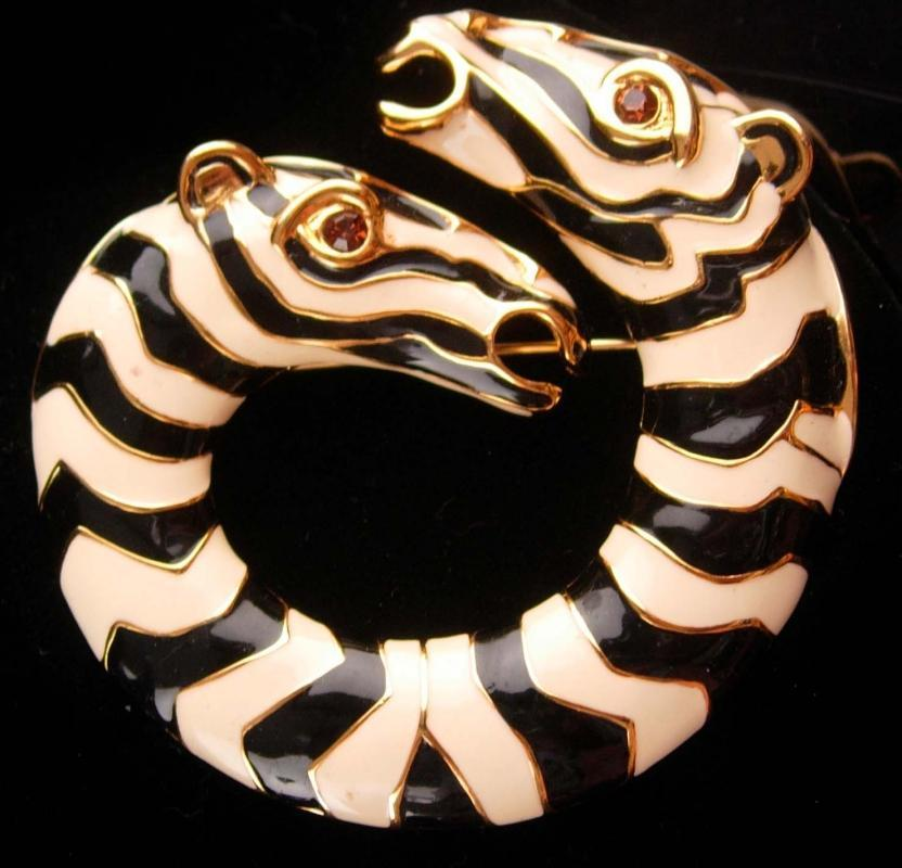 Exotic Zebra large Brooch - KJL signed pin / Vintage figural jewelry - Animal lover gift - estate couture jewelry / Mythological horse